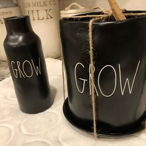 Rae Dunn black GROW mug planter/vase bundle